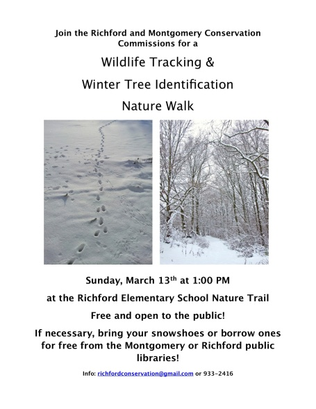 "Preview of ""Winter Tree ID and Wildlife Tracking flyer"""
