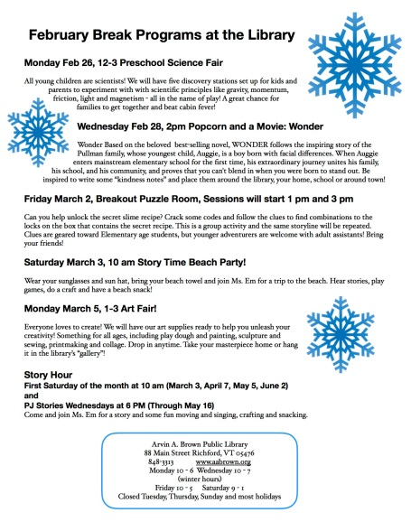February break programs